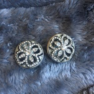 Amazing silver and rhinestone clip ons